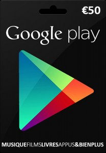 Carte cadeau Google Play 50 €