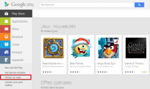 Interface Google Play Store