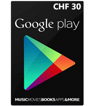 carte cadeau google play suisse 30 CHF