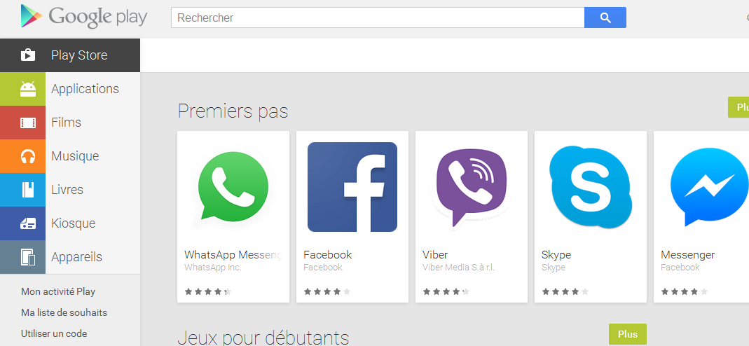 Interface de la boutique en ligne Google